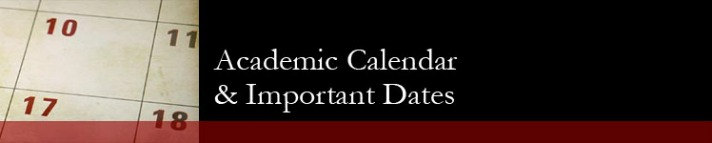 Academic Calendar and Important Dates banner